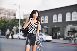 Daphne Blunt - Fendi Vintage Checker Print Top, Alice + Olivia Leather Mini Skirt, Acne Studios Round White Sunglasses, Gucci Embellished Backpack, River Island Rhinestone Choker - You Better Go Go Girl