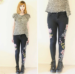 Rachel-Marie - Unbranded Tattoo Choker, Unbranded Black Stand Collar Asymmetrical Knit Sweater, Romwe Black Flower Embroidery Skinny Jeans, Unbranded Black Lace Up Martin Boots - Flowers & Dragons