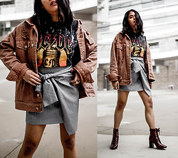 Eda Semana - Forever 21 Acdc Band Tee, Zara Glen Plaid Asymmetrical Skirt, Forever 21 Distressed Denim Jacket, Forever 21 Lace Up Ankle Boots, Forever 21 Fishnet Choker - Band Tee and Denim