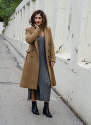 Christina N -  - Camel Coat + Knit Dress
