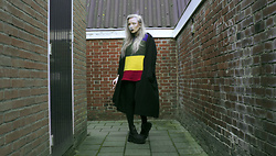 Lilian A - Rainbow/Crayola Sweater, Yoins Trench Coat, Criss Cross 90's Rave Platform Boots - Hard like a rock, cold like stone.