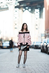Sami Mauskopf - Pixie Market Off The Shoulder Bomber Top, Asos Patent Leather Skirt, Qupid Metallic Sneakers - Sheen Queen