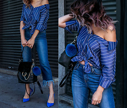 Francesca Felix - Topshop Frayed Hem Jeans, Aquazzura Blue Pumps, Chloe Black Backpack - Shades of blue