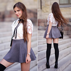 Ariadna M. - Chicwish White Crochet Blouse, Ax Paris Grey Flared Mini Skirt, Embis Black Leather Platform Heels, Dedicante.Pl Engraved Gold Necklace, Paul Hewitt Gold Wrist Watch - White - grey - black