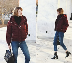 E Maille - River Island Puffer, Mango Turtleneck, Topshop Jeans, Mango Patent Boots, Celine Bag - Puffer love