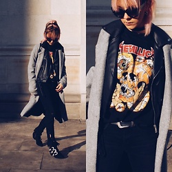 Izabella - Pull & Bear Tshirt, Zara Jacket, New Yorker Coat, Pull & Bear Sunglesses, Zara Jeans, H&M Shoes - Sun