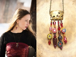 "Siri Sa - Mondlack Unique Earrings ""Inca Goddess"", Mondlack Necklace ""Inka Goddess"", Second Hand Sequined Top - Boho chic"