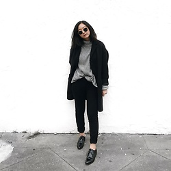 Tiffany Wang - Everlane Oxfords, Everlane Cocoon Coat, H&M Sweater, Zara Pants - BUSINESS CASUAL
