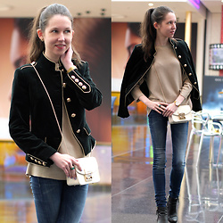Claire H - Mango Green Velvet Jacket, H&M Sweater, Furla Metropolis Bag, G Star Raw Skinny Jeans, Cluse Golden Watch Minuit With Mesh Strap, H&M Ring - The Military Jacket