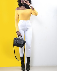 Wanjiku Esther -  - Mustard the Off shoulder