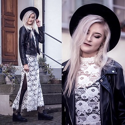 Faye S. - Spell Designs Dress, Zara Leather Jacket, Ash Footwear Boots, H&M Hat - Naming every shade of grey left us colorblind
