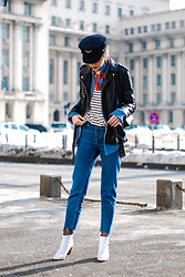 Andreea Birsan - Military Hat, Silky Scarf, Stripe Top, Denim Shirt, Two Tone Step Hem Mom Jeans, White Ankle Boots, Leather Jacket, Mini Crossbody Bag - How to look cool in a pair of jeans and a striped top