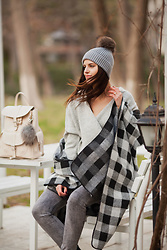 Viktoriya Sener - Asos Hat, Chicwish Sweater, Chic Wish Cape - CHECKED CAPE AND FLUFFY SWEATER