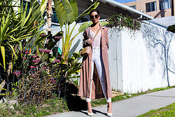Jessi Malay - Raquel Allegra Robe Trench, Casadei Croc Embossed Leather Pumps, Topshop Ripped Ankle Jeans, Jet Set Diaries Caribbean Bodysuit, Tom Ford Natalia Shoulder Bag, Express Oversized Round Sunglasses - How To Layer Your Blush Tones