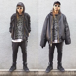 @KiD - (K)Ollaps New Wave Cap, Saint Laurent White Frame Sunglasses, Avalone Bomber Jackets, Insight Black Parka, Joy Division Unknown Pleasures, Monochrome Sweat Pants, Puma Black Sneaker, Rothco Big Bomber Jackets - Japanese Trash100