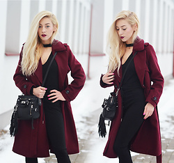 Aneta M - Coat, Bodysuit, Pants - BURGUNDY COAT