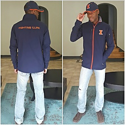 Thomas G - Knights Apparel Fighting Illini Jacket, Levi's 511 Strauss & Co, Skechers On The Go, Nike Fighting Illini Dri Fit Hat - Fighting Illini Fan Apparel