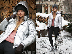 Margarita Lemeshko - Asos Puffer Jacket - Silver and Cold