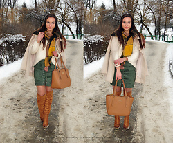 Natalia Uliasz - Yesfashion Army Green Skirt, Zaful Scarf With Pompoms, Mohito Coat, Wittchen Bag, Deezee.Pl Knee Boots - Army green skirt