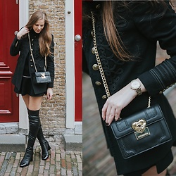 Maria B - Zara Leather Overknee Boots, Moschino Bag, Michael Kors Watch, Zara Jacket, Zara Skirt - Overknee Boots & Love Moschino Bag