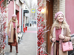 Margarita Maslova - Asos Beret, Velvet Skirt - Strawberry & chocolate