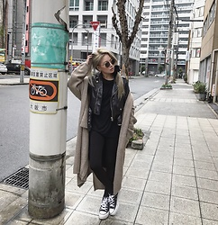Vita Chen - Vii & Co. Knitting Coat, Unif Staple Moto, Converse Chuck Taylor All Star Classic - OSAKA