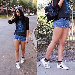 Gina - Adidas White Sneakers, Band Tee, Mesh Top, Studded Backpack, Diy Denim Shorts - Parabola