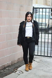 Yuka I. - Metallica Tee, Madewell Jeans, Faux Fur Coat, Timberland Boots, Gucci Belt - From one broken heart to another