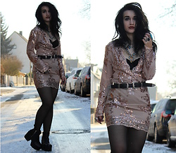 Tessa Diamondly - Romwe Sequin Dress - Snow crystal.