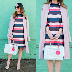 Jenn Lake - Kate Spade Typewriter Bag, Ted Baker Multicolor Stripe Dress, Leith Pink Midi Coat, Salvatore Ferragamo Emy Pumps, Celine Marta Sunglasses - Kate Spade Typewriter Bag