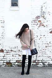 Megan Elliott - Equipment Rei Crew Neck Sweater, Rebecca Minkoff Side Zip Mini Regan Tote, Paprika White Skinny Jeans, Public Desire Arya Lace Up Back Flat Long Boots - Comfy & Cool