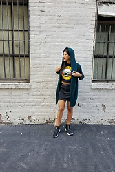 Iamperlita - Thrifted Green Cardigan, Bravado Guns N Roses Crop Top, H&M Leather Skirt, Puma Women's Fierce Gold Casual Shoes - .oh snap.
