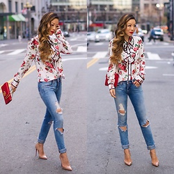 Sasa Zoe - $54 Floral Blouse, $88 Jeans, Bag, Heels - FLOWER POWER