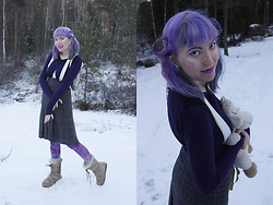 Lindwormmm - Thrifted Gray Tartan Skirt, Black Milk Clothing Fairy Paint Leggings, Thrifted White Suspenders, Snow Lamb Backpack, Purple Cardigan With Black Lace - Snow Lambs
