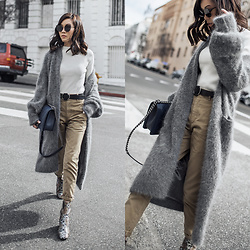 Jenny Tsang - Bytsang Fuzzy Cardigan Coat - Neutral Staples