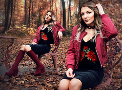 Melania Plasko - Zaful Lace Up Bomber Jacket, Zaful Velvet Embroidered Rose Dress - Rose Wine