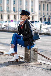 Andreea Birsan - Military Hat, Biker Leather Jacket, Button Down Denim Shirt, Silk Scarf, Step Hem Two Tone Jeans, White Leather Ankle Boots, Mini Piper S Crossbody Bag - How to look cool in a pair of jeans and a striped top II