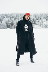 Arttu Mustonen - Adidas Hoodie, Dr. Martens Boots, H&M Coat - In the middle of a lake