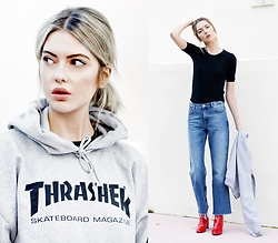 Ebba Zingmark - Junkyard Hoodie, &Other Stories Jeans, Sarenza Boots - TRASHER