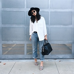 Tiffany Wang - Jeffrey Campbell Shoes Mules, Levi's® Jeans, Free People Shirt, Givenchy Bag, Brixton Hat, Ray Ban Sunglasses - BOYFRIEND JEANS
