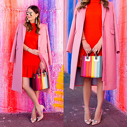 Jenn Lake - Trina Turk Red Ruffle Hem Dress, J. Crew Long Pink Coat, Sophie Hulme Rainbow Stripe Bag, Salvatore Ferragamo Emy Pumps, Baublebar Artemis Tassel Earrings, Quay Gemini Sunglasses - Red Ruffle Hem Dress