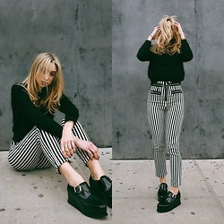 Ana Prodanovich - Reformation Striped Pants, Nasty Gal Fuzzy Sweater, Free People Creepers - Currently Coveting: Vertical Striped Pants