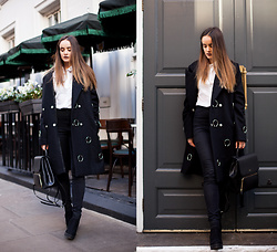 Savina Official - Other Theory Coat, Dkny Backpack, French Connection Uk Shirt, Miss Selfridge Jeans, New Look Boots - BLACK, RINGS AND OTHER THINGS