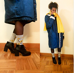 Yara Snow'z - Bershka Denim Overcoat, Primark Adventure Time Socks, H&M Yellow Scarf - Yellow Winter