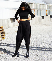 Angelina D'Souza - Forever 21 Black Sweater Crop Top, Harem Pants, H&M Sock Boots, Asos Hoops - Draped
