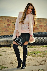 Emma MAS - Chicme Pink Sweater - Skater skirt and otk boots
