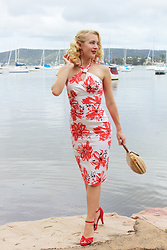 Kayla J - Stop Staring! Acacia Dress, Erstwilder The Ocean Trotter Earrings, 1950s Lucite & Wicker Purse - Coral for Summer!