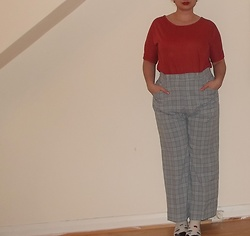 Selina - Self Made Orange T Shirt, Vintage Sale Check Trousers - I don't live in this candyfloss world