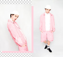 dapper alien ~~~~~~ - Nasir Mazhar X Topman Tracksuit Jacket, Nasir Mazhar X Topman Shorts, Nike Black Sneakers -  pretty in pink | CHECK MY YOUTUBE