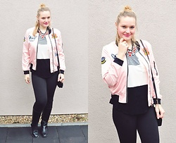 Kasia Koniakowska - Sheinside Jacket, Bon Prix Shirt, Sammydress Necklace, H&M Bag, Leggins - Pink jacket